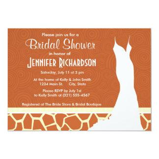 "Brown Giraffe Pattern 5"" X 7"" Invitation Card"