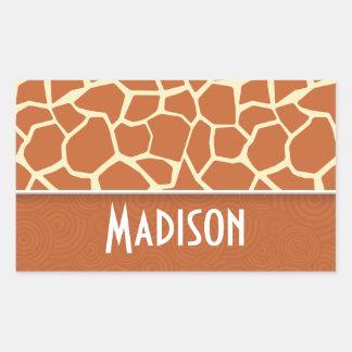 Brown Giraffe Pattern Rectangular Sticker