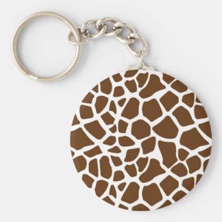 Brown Giraffe Print Keychains