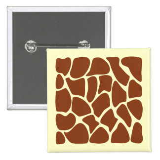 Brown Giraffe Print Pattern. 15 Cm Square Badge