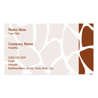 Brown Giraffe Print Pattern. Double-Sided Standard Business Cards (Pack Of 100)