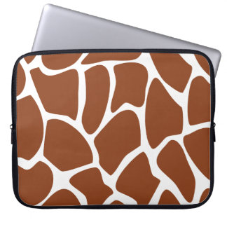 Brown Giraffe Print Pattern. Laptop Sleeve
