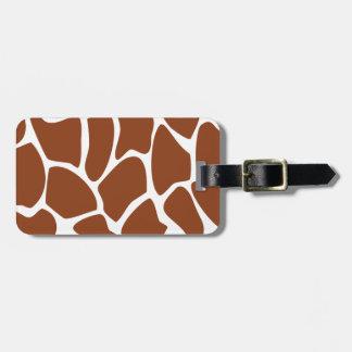 Brown Giraffe Print Pattern. Luggage Tag