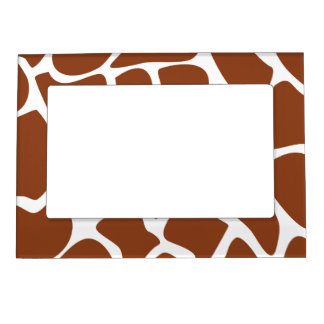 Brown Giraffe Print Pattern. Magnetic Frame