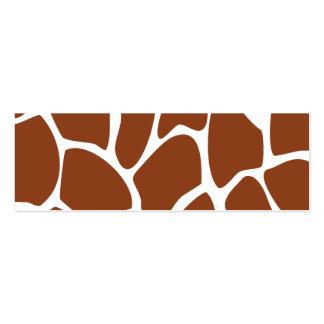 Brown Giraffe Print Pattern. Pack Of Skinny Business Cards