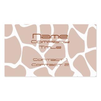 Brown Giraffe Print Pattern. Pack Of Standard Business Cards