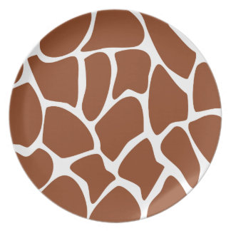 Brown Giraffe Print Pattern. Plate