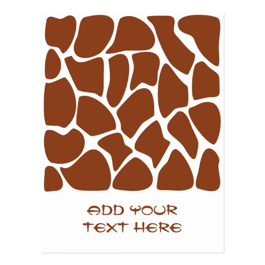 Brown Giraffe Print Pattern. Postcard