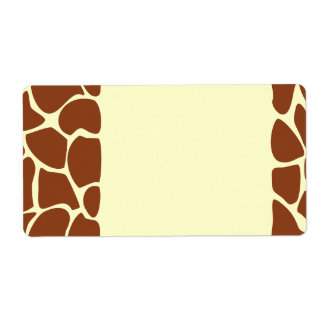 Brown Giraffe Print Pattern. Shipping Label