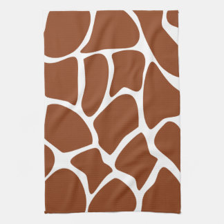 Brown Giraffe Print Pattern. Tea Towel