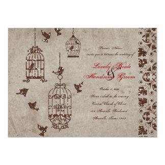 Brown Glitter Birds Old Paper Wedding Invitation