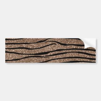 Brown glitter zebra stripes bumper sticker