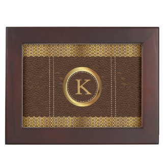 Brown & Gold Accents Stitched Leather Texture Keepsake Boxes