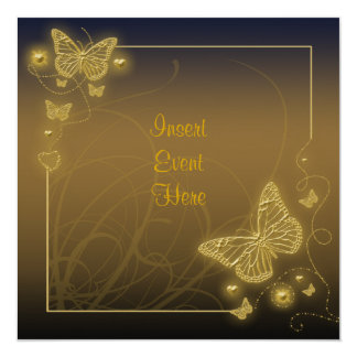 Brown gold butterfly elegant swirls personalized invitations
