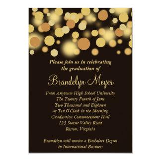 "Brown Gold Celebration Graduation Announcement 5"" X 7"" Invitation Card"