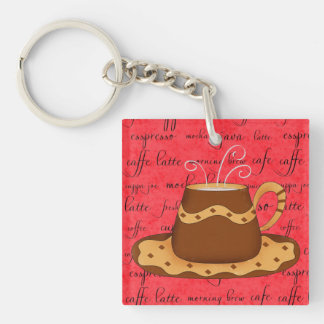 Brown Gold Coffee Cup Art on Red Script Background Double-Sided Square Acrylic Key Ring