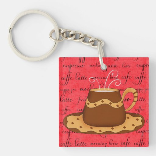 Brown Gold Coffee Cup Art on Red Script Background Acrylic Key Chain