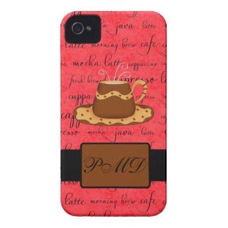 Brown Gold Coffee Cup on Red Script Monogram iPhone 4 Case-Mate Case