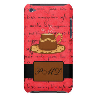 Brown Gold Coffee Cup on Red Script Monogram iPod Case-Mate Cases
