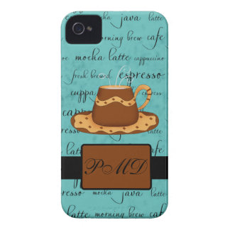 Brown Gold Coffee Cup Turquoise Script Monogram iPhone 4 Case-Mate Case