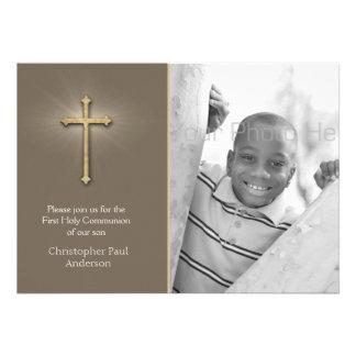 Brown Gold Cross Religious Photo Invite