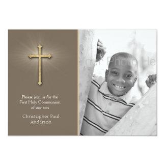 Brown, Gold Cross, Religious Photo Invite
