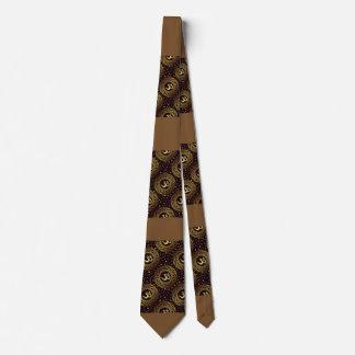 Brown Gold Crown Chakras Pattern Print Design Tie