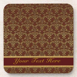 Brown & Gold Damask Pattern Beverage Coaster