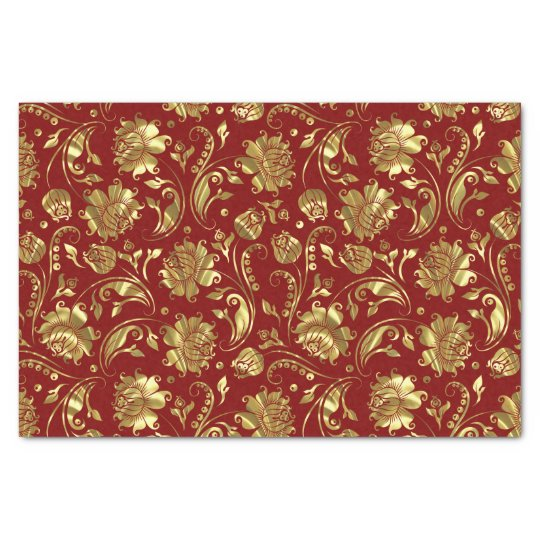 Brown & Gold Floral Damasks Pattern Tissue Paper