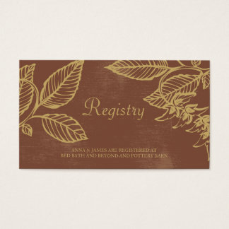 Brown & Gold Leaves, Fall Wedding Registry Card