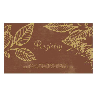 Brown & Gold Leaves, Fall Wedding Registry Card Pack Of Standard Business Cards