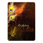 Brown + Gold Peacock Feathers 35th Birthday Party Personalised Announcements