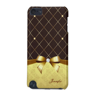 Brown Golden Ribbon Damask Diamond and Custom Name iPod Touch 5G Cases