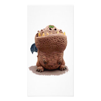 Brown Goofy looking dragon with green eyes Customized Photo Card