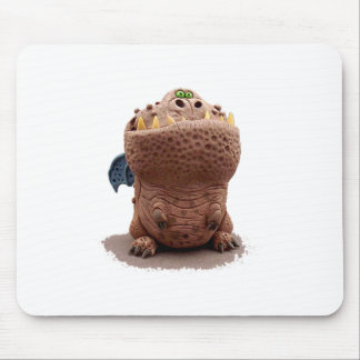 Brown Goofy looking dragon with green eyes Mouse Pad