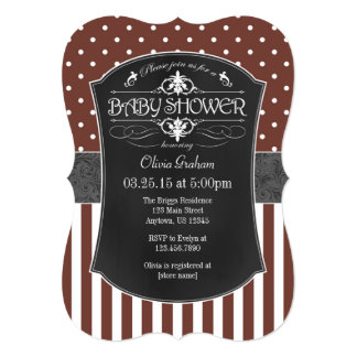Brown Gray Chalkboard Stripes Baby Shower Invite