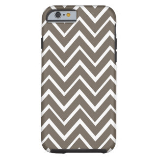 Brown gray whimsical zigzag chevron pattern tough iPhone 6 case