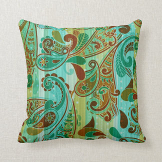 Blue Green And Brown Throw Pillows : Vintage Paisley Cushions, Vintage Paisley Cushions