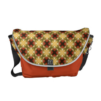 Brown, Green And Cream Vintage Pattern Messenger Bag