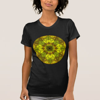 brown, green, and yellow stained glass rosette tshirts