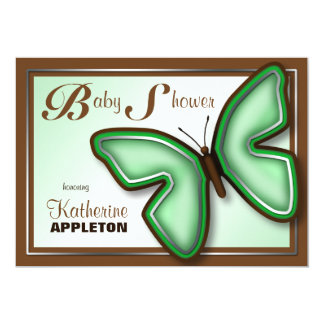 Brown & Green Butterfly Baby Shower Invitations