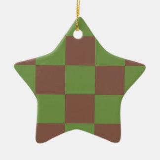 Brown Green Checkerboard Christmas Ornament