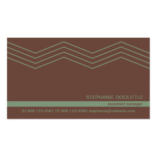 Brown Green Chevron Business Cards