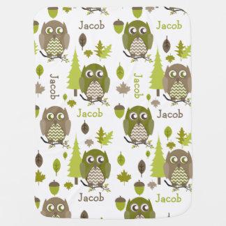 Brown + Green Chevron Owls Personalized Blanket Pramblanket