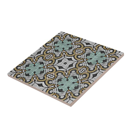 Brown Green Grey Retro Chic Nouveau Deco Pattern