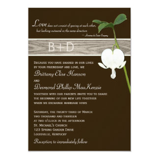 Brown Green Ivory Bleeding Heart Wedding Invite