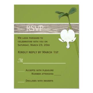 Brown Green Ivory Bleeding Heart Wedding RSVP 11 Cm X 14 Cm Invitation Card