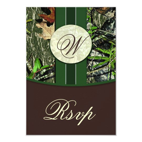 Brown & Green Monogram Camo Wedding RSVP Cards