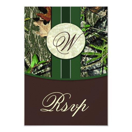 Brown & Green Monogram Camo Wedding RSVP Cards 9 Cm X 13 Cm Invitation Card