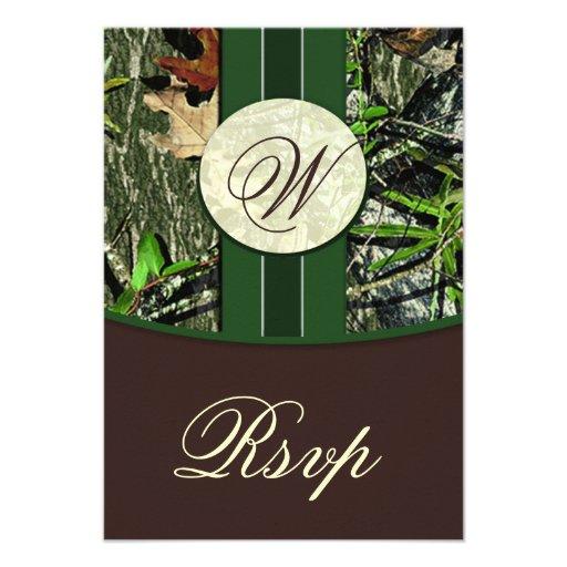 Brown & Green Monogram Camo Wedding RSVP Cards Custom Invites